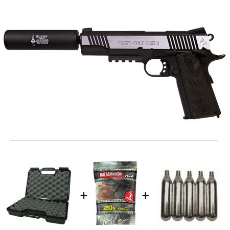 Pack Pistolet Colt 1911 Rail Gun Dual Tone Co2 (180525) + Silencieux + 5 Cartouches Co2 + Mallette de Transport + 5000 Billes 0.20g