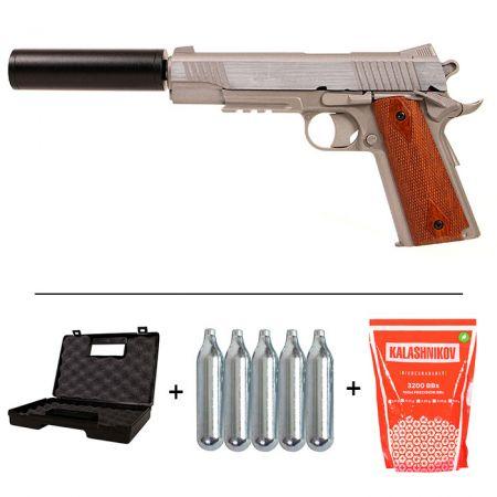 Pack Pistolet Colt 1911 Rail Gun Stainless Co2 GNB (180315) + 2 Chargeurs + 5 Cartouches Co2 + Malette de Transport + Biberon 2000 Billes 0.20g