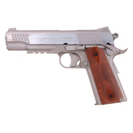 Pack Pistolet Colt 1911 Rail Gun Stainless Co2 GNB (180315) + Silencieux + 5 Cartouches Co2 + Mallette + 5000 Billes 0.20g