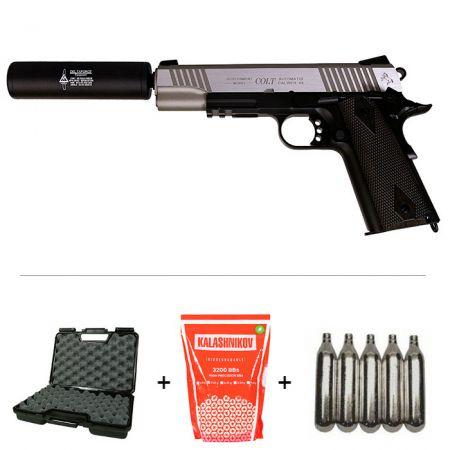 Pack Pistolet Colt 1911 Rail Gun Stainless Dual Tone Co2 (180531) + 2 Chargeurs + 5 Cartouches Co2 + Malette de Transport + Biberon 2000 Billes 0.20g