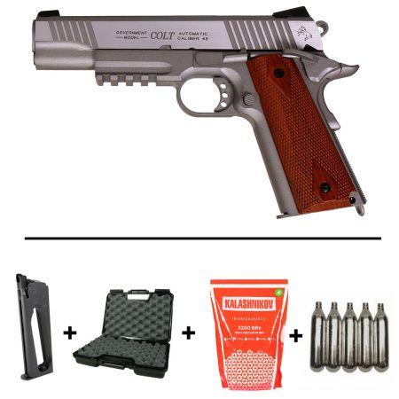 Pack Pistolet Colt 1911 Rail Gun Stainless Silver Co2 (180530) + 2 Chargeurs + 5 Cartouches Co2 + Malette de Transport + Biberon 2000 Billes 0.20g