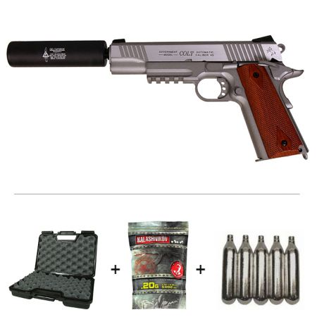 Pack Pistolet Colt 1911 Rail Gun Stainless Silver Co2 (180530) + Silencieux + 5 Cartouches Co2 + Mallette de Transport + 5000 Billes 0.20g