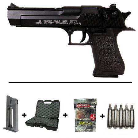 Pack Pistolet Desert Eagle 50AE Co2 Blowback Metal (090502) + 2 Chargeurs + 5 Cartouches Co2 + Mallette de Transport + 5000 Billes 0.20g