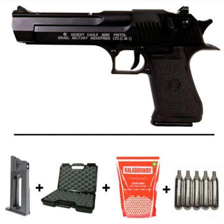 Pack Pistolet KWC Desert Eagle 50AE Noire Blowback Full Auto (090505) + 2 Chargeurs + 5 Cartouches Co2 + Malette de Transport + Biberon 2000 Billes 0.20g