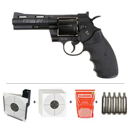 Pack Pistolet Revolver Colt Pyhton Magnum 357 4 Pouces CO2 (180308) + Cible Metal + 100 Cibles Carton + 500 Billes Aluminium + 5 Cartouches Co2