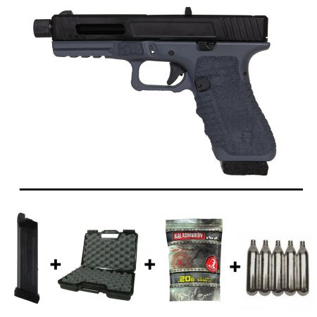 Pack Pistolet Secutor Gladius 17 Co2 GBB - Navy Grey + 2 Chargeurs + 5 Cartouches Co2 + Mallette de Transport + 5000 Billes 0.20g