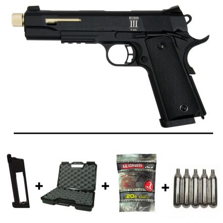 Pack Pistolet Secutor Rudis III Co2 Gold (SAR0002) + 2 Chargeurs + 5 Cartouches Co2 + Mallette de Transport + 5000 Billes 0.20g