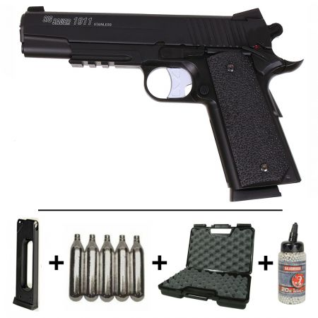 Pack Pistolet SIG SAUER GSR 1911 Full Metal Co2 GNB (280302) + 2 Chargeurs + 5 Cartouches Co2 + Mallette de Transport + Biberon 2000 Billes 0.20g