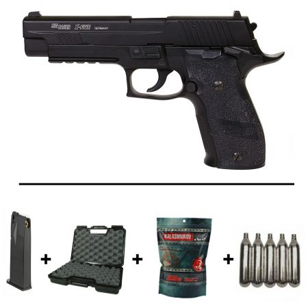 Pack Pistolet Sig Sauer P226 X-Five Co2 Blowback (280514) + 2 Chargeurs + 5 Cartouches Co2 + Mallette de Transport + Biberon 2000 Billes 0.20g