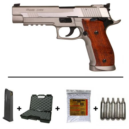 Pack Pistolet Sig Sauer P226 X-Five Hairline Co2 Blowback (280549) + 2 Chargeurs + 5 Cartouches Co2 + Mallette de Transport + Biberon 2000 Billes 0.20g