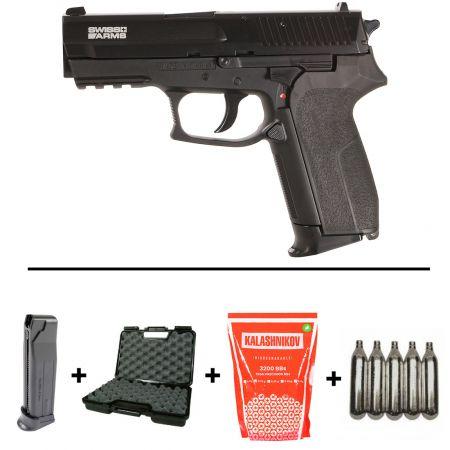 Pack Pistolet Sig Sauer Sp2022 Co2 (280301) + 2 Chargeurs + 5 Cartouches Co2 + Mallette de Transport + 4000 Billes 0.20g