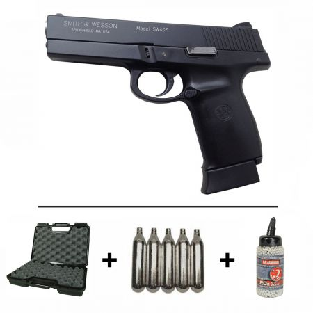 Pack Pistolet Smith & Wesson Sigma 40F SW40F Co2 Blowback + 2 Chargeurs + 5 Cartouches Co2 + Mallette + Rail Picatinny + Biberon 2000 Billes 0.20g