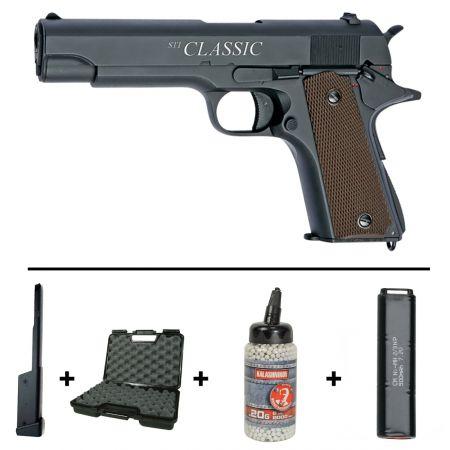 Pack Pistolet STI Classic 1911 Cyma CM123 AEP (17508) + Chargeur 90 Billes + Mallette + Biberon 2000 Billes Blanches 0.20g + 2 Batteries 5000mAh