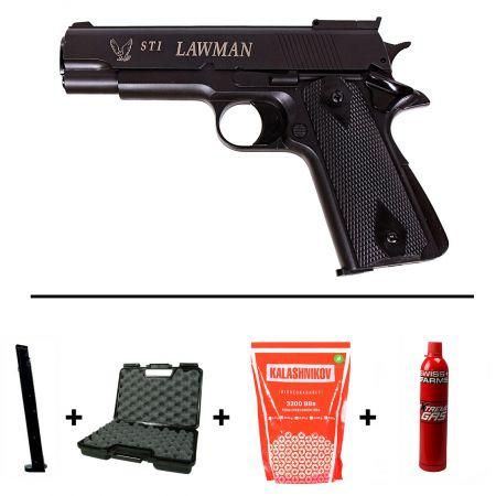 Pack Pistolet STI Lawman 1911 M1911 GNB Gaz (14770) + 2 Chargeurs + Mallette de Transport + Bouteille de Gaz 600ml + 5000 Billes 0.20g