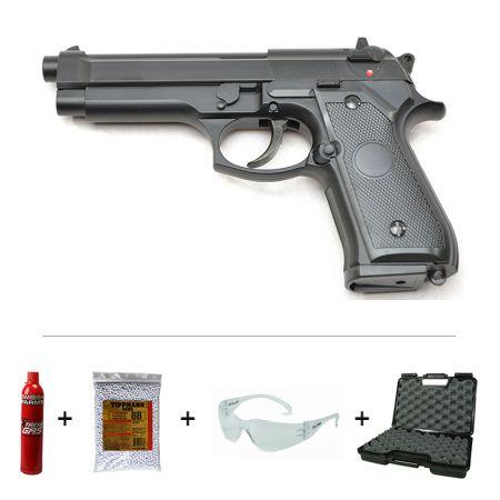 Pack Pistolet STTI Type M9 M92 M92F Gaz + Mallette de Transport + Biberon 2000 Billes Blanche 0.20g + Bouteille Extreme Gaz Swiss Arms 600ml + Lunettes Protection Bolle