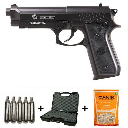 Pack Pistolet Taurus PT92 Co2 M9 Full Metal (210307) + 2 Chargeurs + 5 Cartouches Co2 + Malette de Transport + Biberon 2000 Billes 0.20g