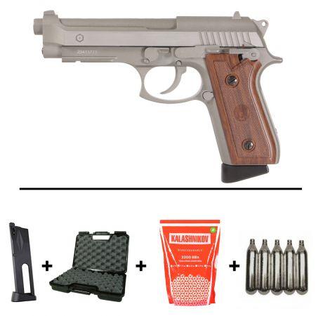 Pack Pistolet Taurus PT92 Stainless Co2 Blowback (210527) + 2 Chargeurs + 5 Cartouches Co2 + Mallette de Transport + 5000 Billes 0.20g