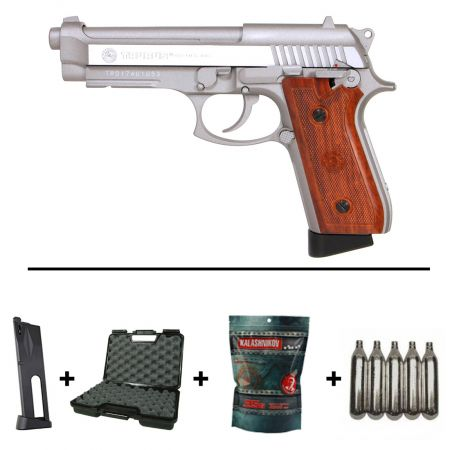 Pack Pistolet Taurus PT92 Stainless Co2 Blowback (210527) + 2 Chargeurs + 5 Cartouches Co2 + Mallette de Transport + Biberon 2000 Billes 0.20g