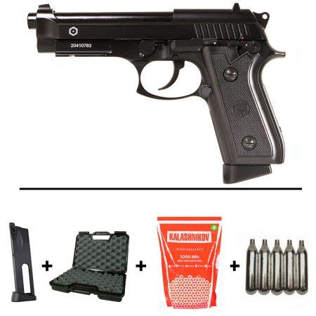 Pack Pistolet Taurus PT99 Co2 Blowback (210508) + 2 Chargeurs + 5 Cartouches Co2 + Mallette de Transport + 5000 Billes 0.20g