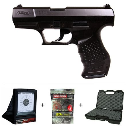 Pack Pistolet Walther P99 Spring Noir + Cible Filet + 20 Cibles Papier + Mallette + 5000 Billes 0.20g