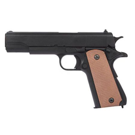 Pistolet à Billes Double Eagle 1911 M1911 Spring Military Noir & Crosse Marron - PA-SP-8839