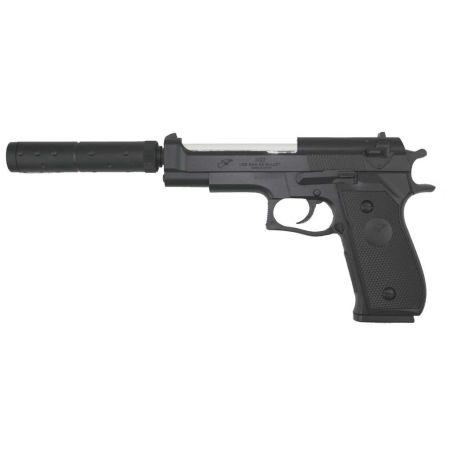 Pistolet à Billes M22 M92 Bicolor Double Eagle EE + Silencieux - PA-SP-5752