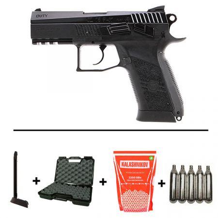 Pistolet Ceska CZ 75 P07 Duty CO2 Blowback (16720) + 2 Chargeurs + 5 Cartouches Co2 + Mallette de Transport + 5000 Billes 0.20g