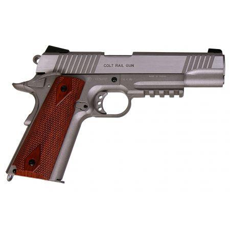 Pistolet Colt 1911 Rail Gun Stainless Silver Co2 Full Metal - Blowback - 180530