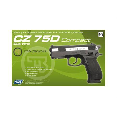 Pistolet CZ 75D Compact CO2 Bicolore Culasse Metal Blowback - 16189