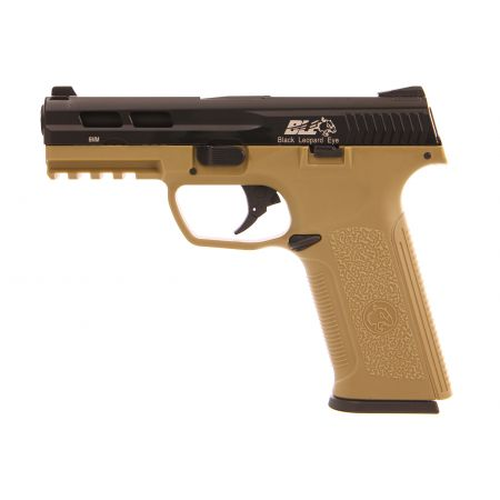 Pistolet ICS BLE Black Leopard Eye XAE SD3 Gaz Blowback Noir / Tan - 18956