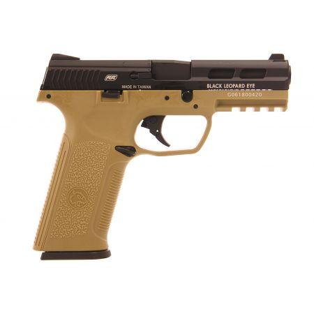 Pistolet ICS BLE Black Leopard Eye XAE SD3 Gaz Blowback Noir / Tan - 18956