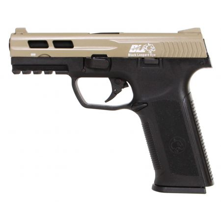 Pistolet ICS BLE Black Leopard Eye XAE SD4 Gaz Blowback Tan / Noir - 18957