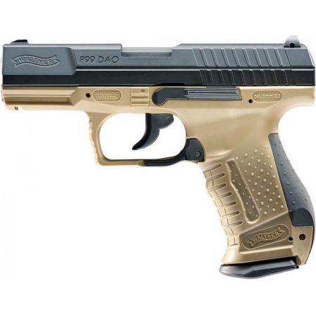 Pistolet Walther P99 DAO Co2 Bi-ton Tan & Noir - BlowBack Culasse Metal - 2 joules - 26342