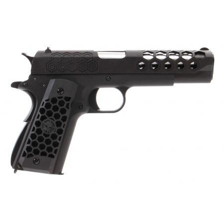 Pistolet WE 1911 Hex Cut GBB Gaz Blowback Full Metal Noir - 500555