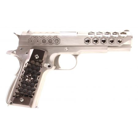 Pistolet WE 1911 Hex Cut GBB Gaz Blowback Full Metal - Silver