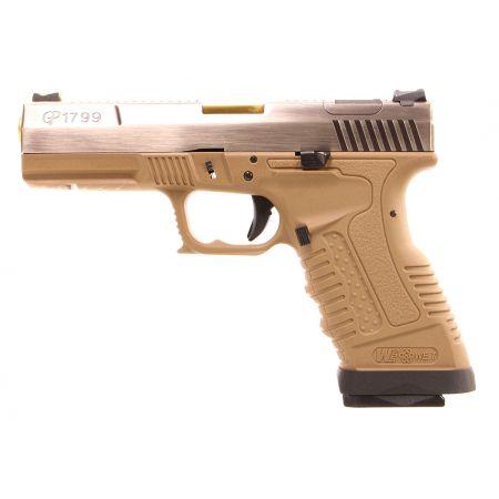 Pistolet WE GP1799 GBB Gaz Blowback Dual Tone - Tan & Silver