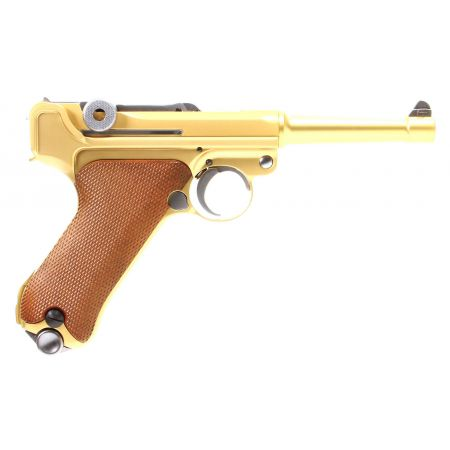 Pistolet WE Luger P08 4 Pouces GBB Gaz Blowback Full Metal Gold 500618