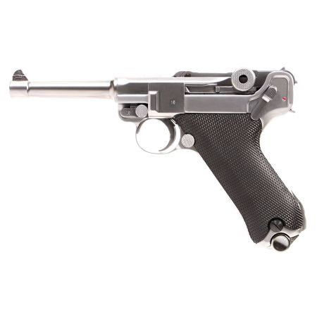 Pistolet WE Luger P08 4 Pouces GBB Gaz Blowback Full Metal Silver 500641