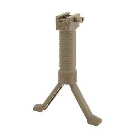 Poignee Verticale avec Bi-Pied Retractable - Grip Tactique - Tan
