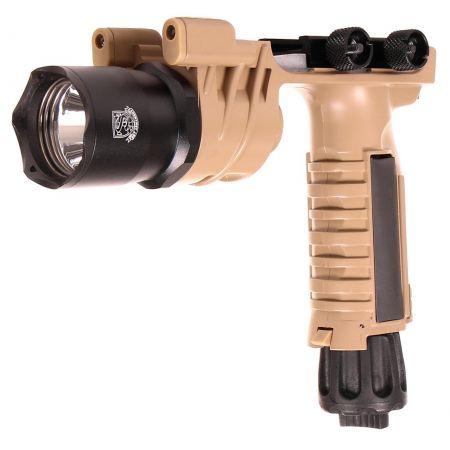 Poignée Verticale avec Lampe Tactique LED M910 Tan - S&T Armament