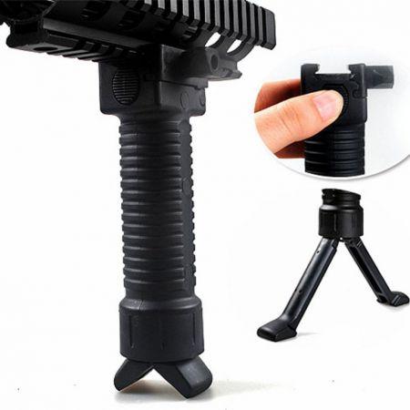 Poignee Verticale Noire et Bi-Pied Retractable - Grip Tactique RIS - ABS - 605214