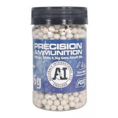 Pot 1000 Billes (BBs) Blanches 0.36g Precision Ammunition ASG - 18723