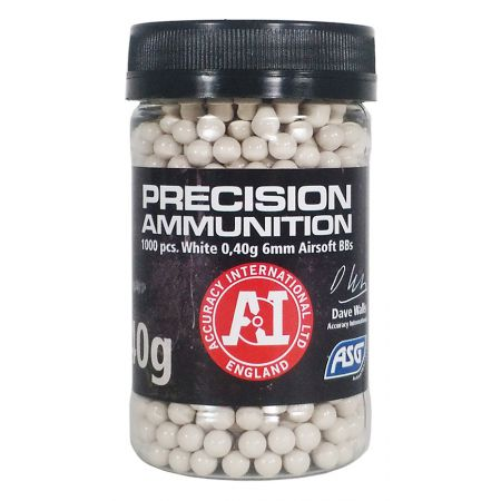 Pot 1000 Billes (BBs) Blanches 0.40g Precision Ammunition ASG - 18413