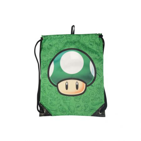 Sac a Ficelle Vert Nintendo Mushroom One Up Super Mario PD-SAC-9342