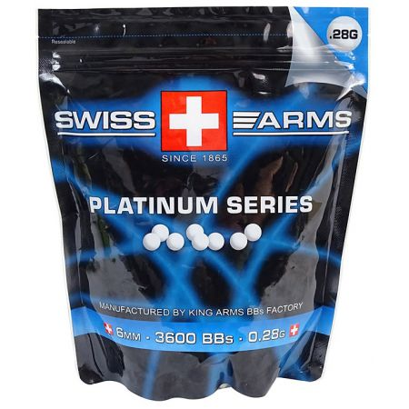 Sachet (1kg) 3600 Billes (BBs) Blanches 0.28g King Arms - KA-BB-03-WH