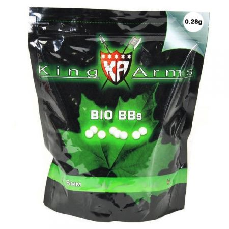 Sachet (1kg) 3600 Billes (BBs) Blanches Bio 0.28g King Arms - KA-BB-06-WH