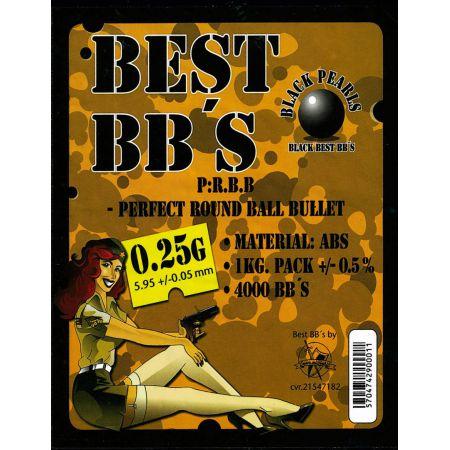 Sachet (1kg) 4000 Billes 0.25g BEST BBS - Noires