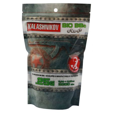 Sachet 3200 Billes (BBs) Bio Blanches 0.25g Kalashnikov - 123601