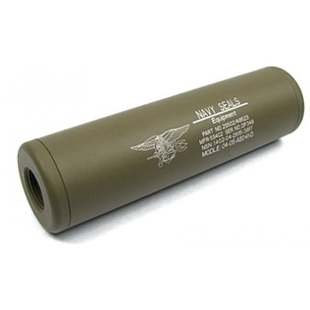 Silencieux Navy Seals King Arms Universel 110x30 - 14mm CW CCW - Tan
