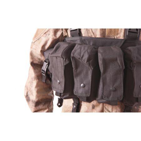 Veste Gilet Tactique Chest Rig 7 Poches Delta Tactics - Noir